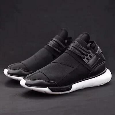 c9d9082448f8 Men s Slip On Light Weight Lace Up Comfortable Qasa High Black Trainers  Shoes