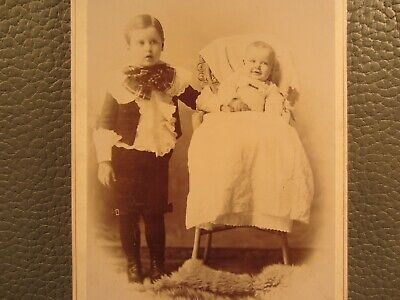 Victorian Antique Cabinet Card Photo of Children Brother and Sister Siblings