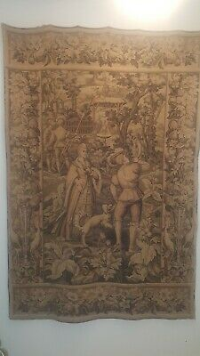 """Antique French Tapestry Large 49""""W x 74""""L"""