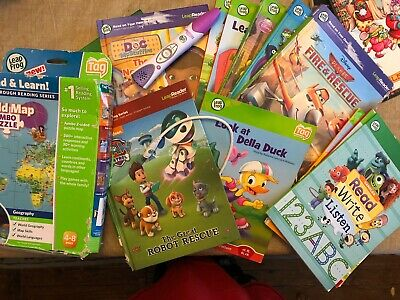 Leap Frog Leap Reader Lot ~ World Map Puzzle, Pen, Charging Cord & 12 Books
