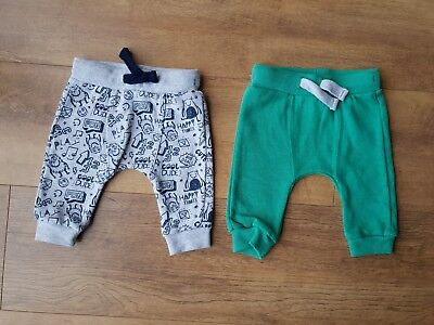 2 x F&F JOGGERS TROUSERS Grey Green Baby Boy 0-3 Month - NEW