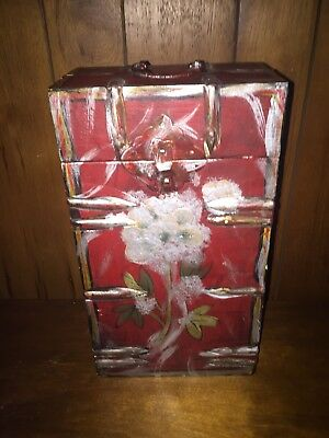 Vintage Floral Wine Wood Case Holder Carrier Double Bottle Storage Crate Box