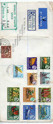 RHODESIA 1966  COVER WITH 11 INDEPENDENCE STAMPS to 2/6 + GB 2/6 TO PAY STAMP