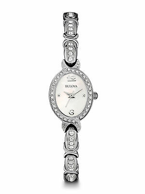 NEW Bulova Women's 96L199 Crystal Accents Mother of Pearl Dial 22mm Watch