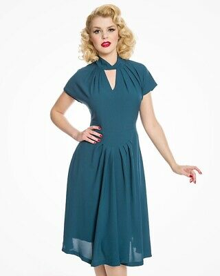 29efd82463a9 Emma Lou Lindy Bop Lindybop Teal 40s 50s Dress Swing Vintage Blue Rockabilly