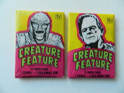 1980 Vintage (2) Unopened Wax Packs Creature Feature Topps Trading Cards Sticker