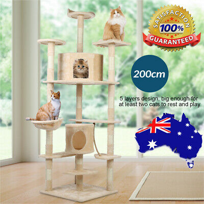 Pet Cat Scratching Tree Scratcher Post Pole Furniture Gym House Toy 200cm