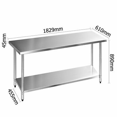Heavy Duty Commercial Kitchen Bench Work Table Food Catering Shelving Adjustable