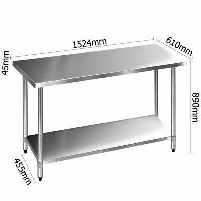 Adjustable Stainless Steel Kitchen Bench Commercial Work Table Catering Shelves