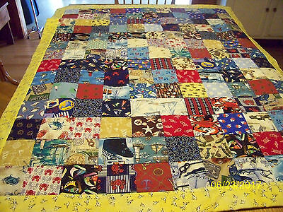 Homemade Nautical Quilt with Lighthouse Backing Seagull Binding 41in x 51 in