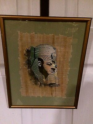 Authentic Antique Hand painted Egyptian Pharaoh Ramesses II on papyrus paper