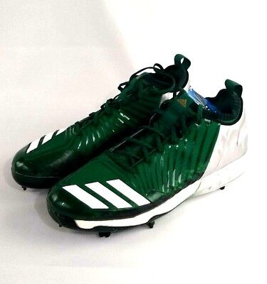b1a1711c8793 Adidas Boost Icon 3 Metal Green Pro Baseball Cleats Mens Size 13.5 Silver  Field