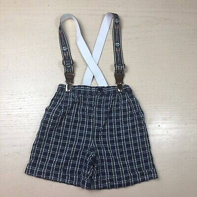 Vintage Plaid Suspender Shorts 2t Crew Rowing Navy Blue