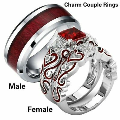 Engagement His & Hers Lover Stainless Steel Red CZ Couple Wedding Band Rings Set