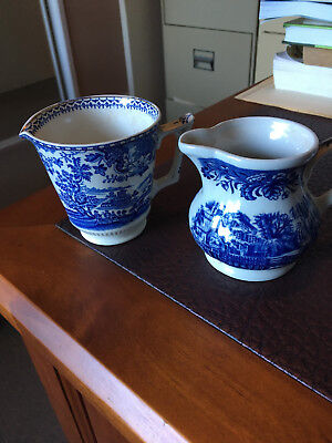 Two old English Blue and white porceline jugs