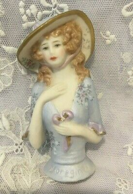 "Porcelain Half Doll - ""Beatrice"" 8.5cms in grey/blue"