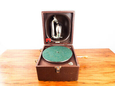 Vintage 1920s Decca Gramophone Trench Phonograph HMV Portable Record Player