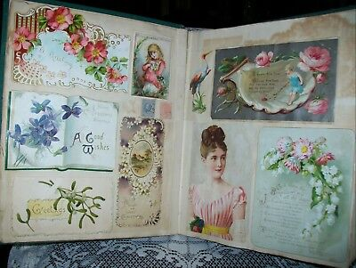 LARGE ANTIQUE 1900s CHRISTMAS & NEW YEAR CARDS +others ALBUM (glued in)