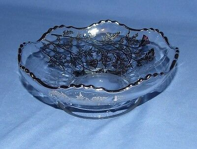 VINTAGE Silver City Footed Candy Dish - Flanders-Clear Pattern - Silver Trim