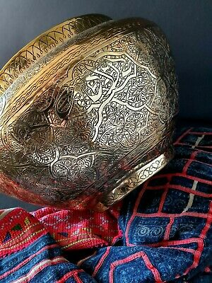 Old Middle Eastern Ornate Brass Pot / Planter …beautiful display & collection pi