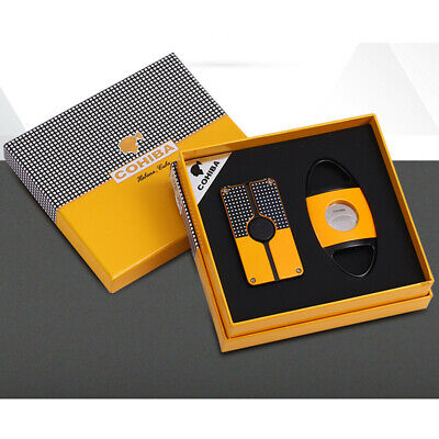 COHIBA Yellow Metal Cigar Cigarette Lighter 3 Torch Jet Flame Cigar Cutter Set