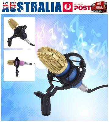 3.5mm Condenser Microphone Sound Recording Audio Studio Brocasting w/ Stand AU