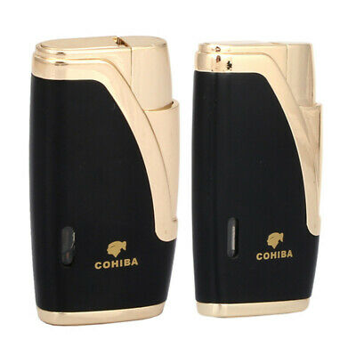 COHIBA Black And Gold Flat Jet Flame 2 Torch Cigar Cigarette Lighter W/Punch