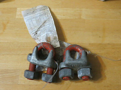 "Two 7/8"" Cable Clamps Logging Rigging Made in USA"