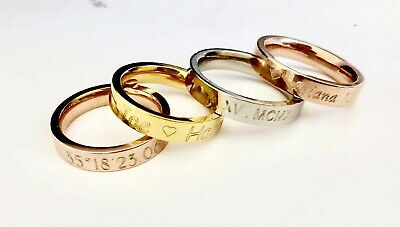 Stainless steel Stackable Name Ring Coordinate/roman numeral custom Valentines