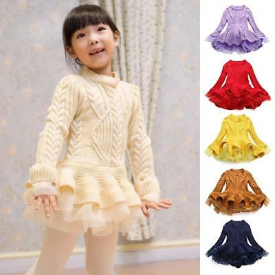 Baby Girl Spring Knitted Sweater Pullovers Crochet Tutu Long Sleeve Soft Dressau