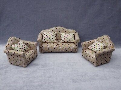 dollhouse miniatures furniture Lot Polka Dots Couch sofa 3 piece cushion 1:12