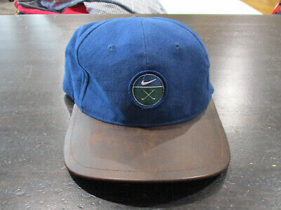 56a535ebca9 VINTAGE Nike Golf Strap Back Hat Cap Blue Brown Leather Brim Golfer Mens 90s