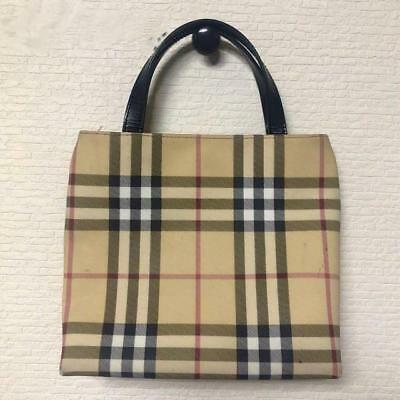 AUTHENTIC BURBERRY BROWN Leather Beige Canvas Tote Shopping Bag ... 71a329d451
