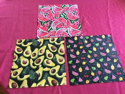 Beeswax food Wraps, Wax Wraps Reusable pack of TWO 1x Large +1 medium.