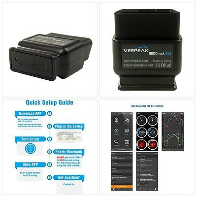 Veepeak OBDCheck BLE Bluetooth 4.0 OBD2 Scanner Auto Diagnostic Tool for iOS