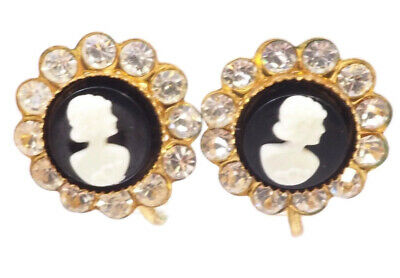 Vintage Retro Designer Signed Coro Cameo Screw On Fashion Earrings Circa 1950