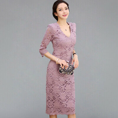 Sexy Lace Hollow Out Patchwork Pencil Dresses Elegant Sheath Bodycon Cocktail