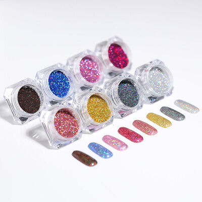 8 Colors Set Holographic Nail Powder Fine Dust Glitter Face Body  Tips