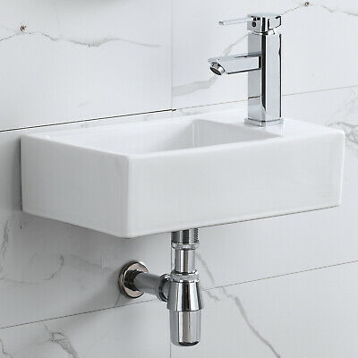 Corner Wall Mount Bathroom Sink Ceramic Porcelain Toilet Lavatory Bowl