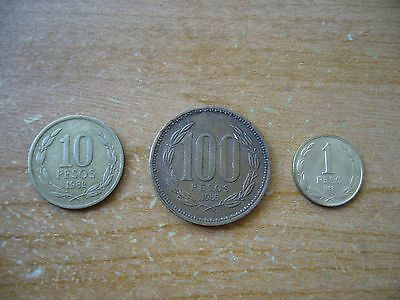 1982 Chile 10 Pesos/1985 100 Pesos/1988 1 Peso Coin Lot