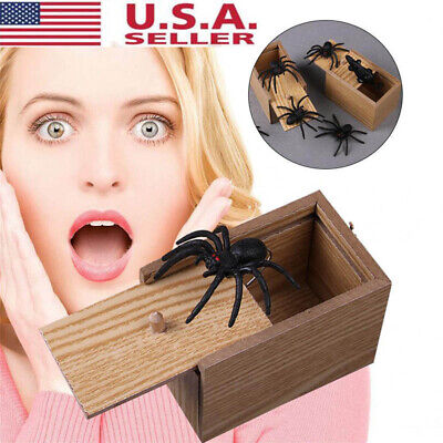 Funny Scare Box Spider Hidden in Case Prank-Wooden Scarebox Joke Trick Play S