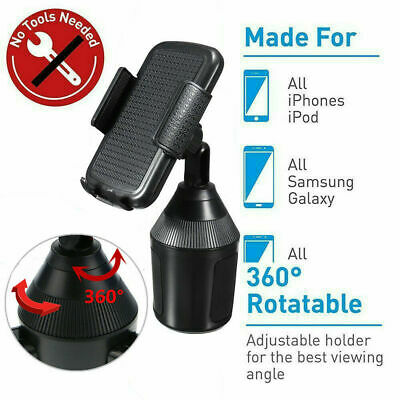 360° Rotatable Car Mount Adjustable Cup Holder Cradle For iPhone XS Max XR 8 8P