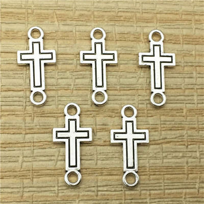 5 x Cross Connector Pendant Charms, Tibetan Silver, Religion, 5pcs