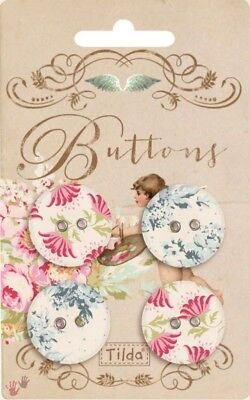 SALE Tilda Painting Flowers Fabric Cover Buttons 25mm