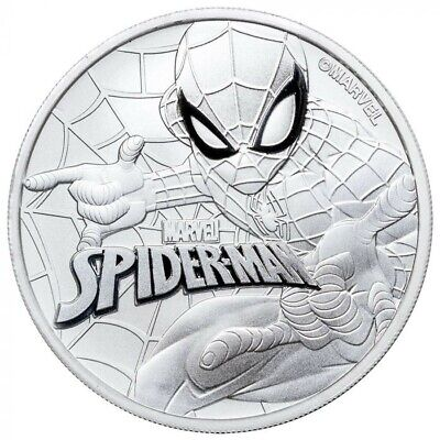 2017 SPIDERMAN - (MARVEL) SILVER 1 oz coin .999 BU - TUVALU $1 50,000 Mintage
