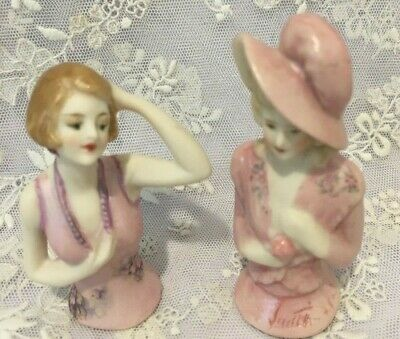 "Porcelain Half Doll - ""Jessica and Rana""  7.5 and 6.5 cms"