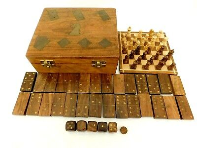 Vintage Wood Inlaid Game Box Chest Chess Set 28 Dominoes 5 Dice Beautiful Box