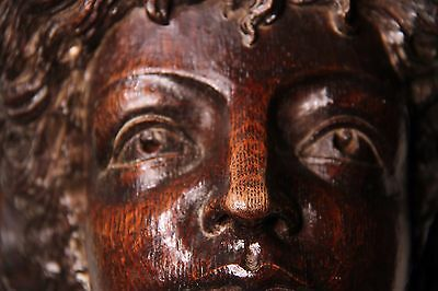 19C Victorian Gothic Carved Oak Crown Caryatids Mythological Winged Beauties