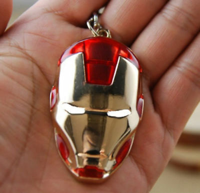 1PCS Iron Man Red Metal Mask Keychain Key Chain Ring Keyring Super Hero Pendant