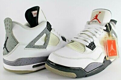 quality design 536c7 c2896 Nike Air Jordan Retro IV 4 White Cement Grey Fire Red Black Size 10.5  308497-